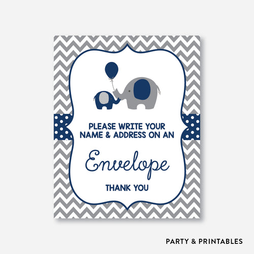 Elephant Address an Envelope Sign / Non-Personalized / Instant Download (SBS.41)