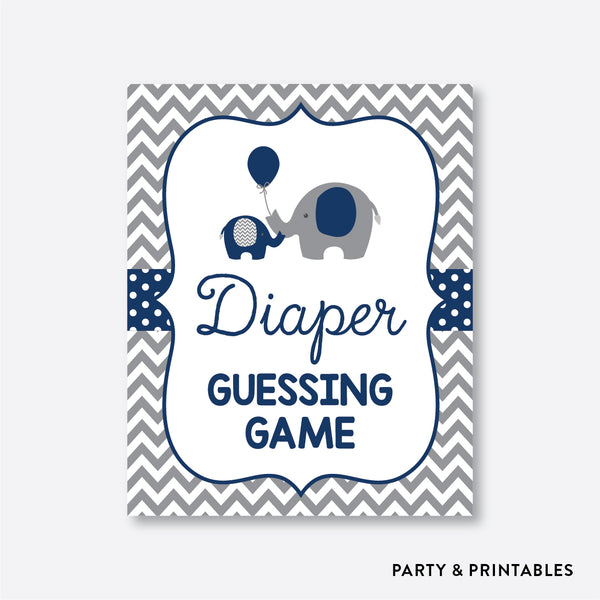 Elephant Guess How Many Diapers / Non-Personalized / Instant Download (SBS.41)