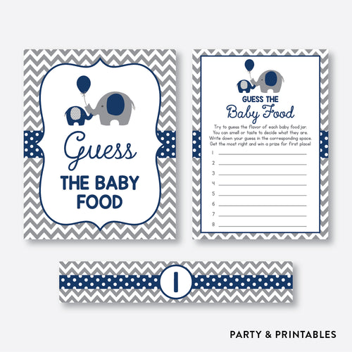 Elephant Guess The Baby Food / Non-Personalized / Instant Download (SBS.41)