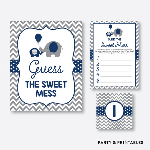 Elephant Guess The Sweet Mess / Non-Personalized / Instant Download (SBS.41)