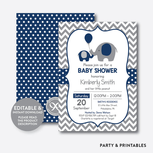 Elephant Baby Shower Invitation / Editable / Instant Download (SBS.41)