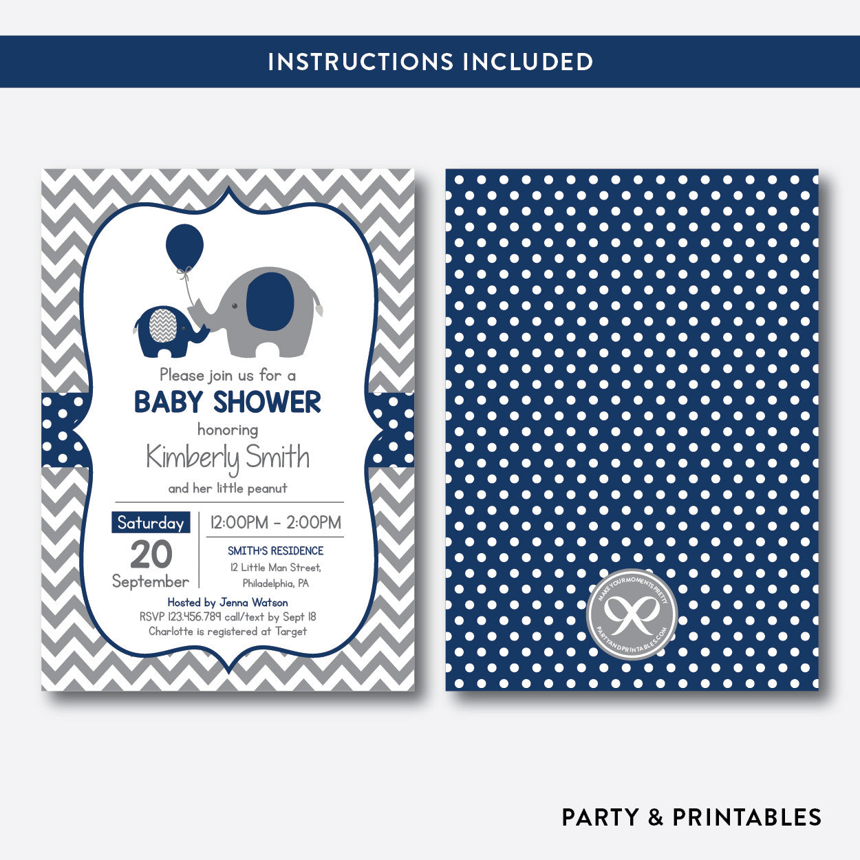 Elephant Baby Shower Invitation / Editable / Instant Download (SBS.41), invitation - Party and Printables