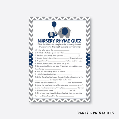 Elephant Nursery Rhyme Quiz / Non-Personalized / Instant Download (SBS.41)