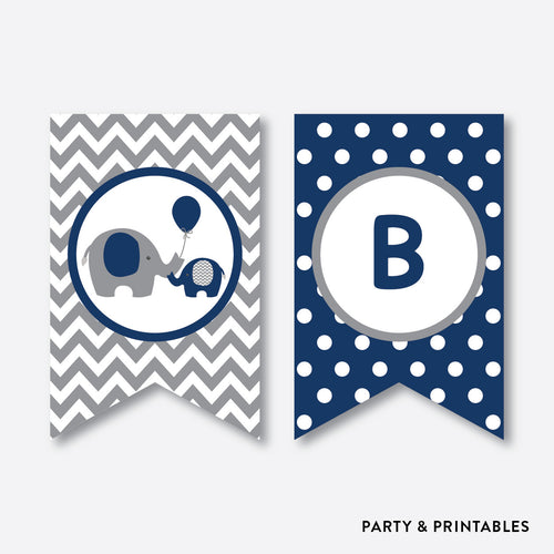 Elephant Party Banner / Baby Shower Banner / Non-Personalized / Instant Download (SBS.41)
