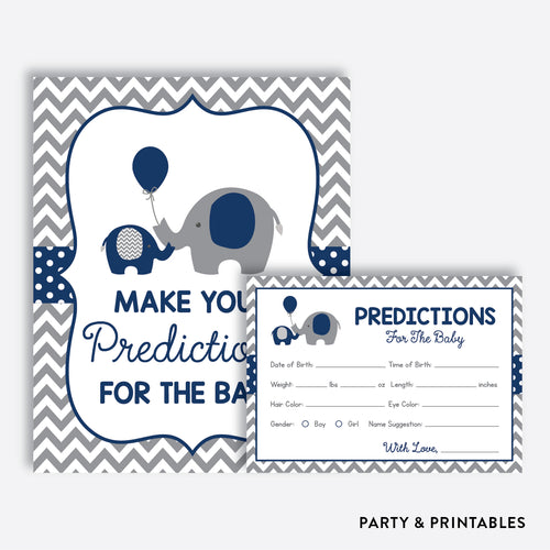 Navy Elephant Predictions For The Baby / Non-Personalized / Instant Download (SBS.41)