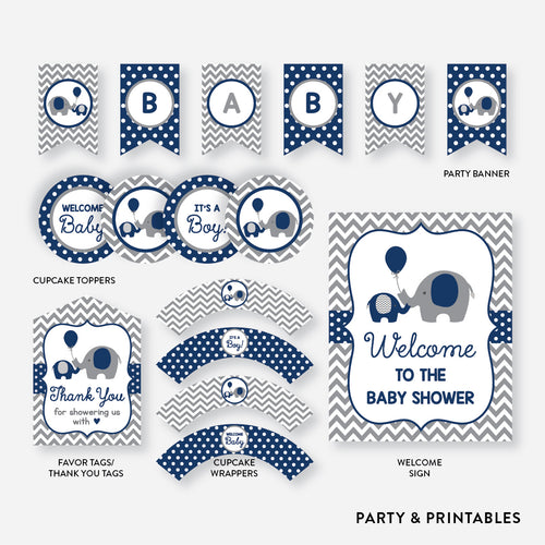 Elephant Standard Baby Shower Party Package / Non-Personalized / Instant Download (SBS.41)