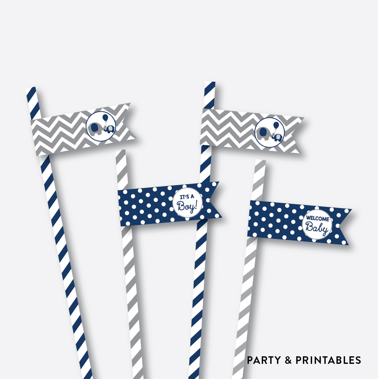 Elephant Straw Flags / Non-Personalized / Instant Download (SBS.41)