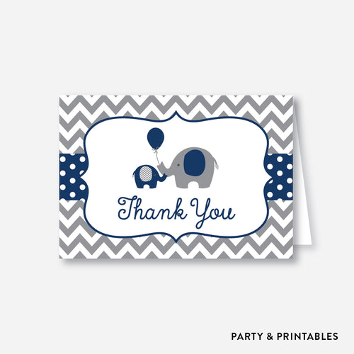 Elephant Baby Shower Thank You / Non-Personalized / Instant Download (SBS.41)
