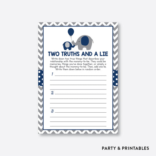 Elephant Two Truths And A Lie / Non-Personalized / Instant Download (SBS.41)