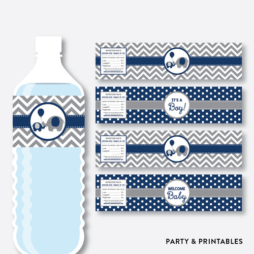 Elephant Water Bottle Labels / Non-Personalized / Instant Download (SBS.41)