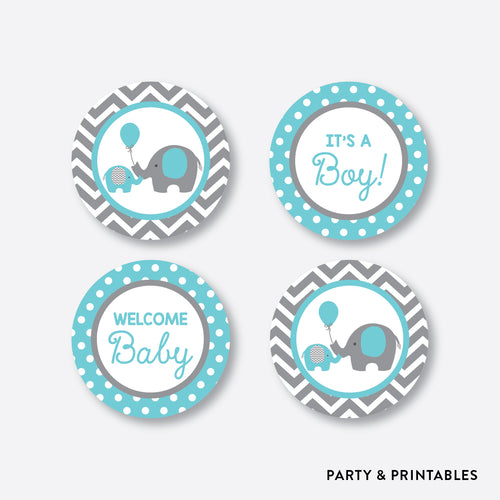 Aqua Elephant Cupcake Toppers / Non-Personalized / Instant Download (SBS.42)