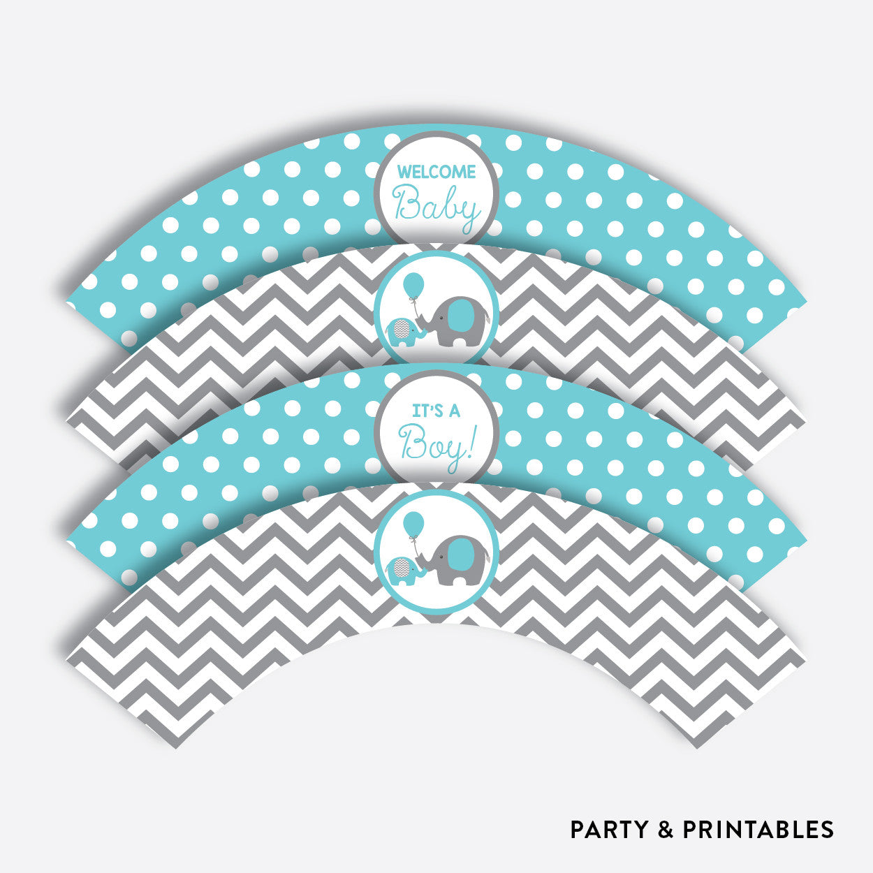 Elephant Cupcake Wrappers / Non-Personalized / Instant Download (SBS.42), party printables - Party and Printables