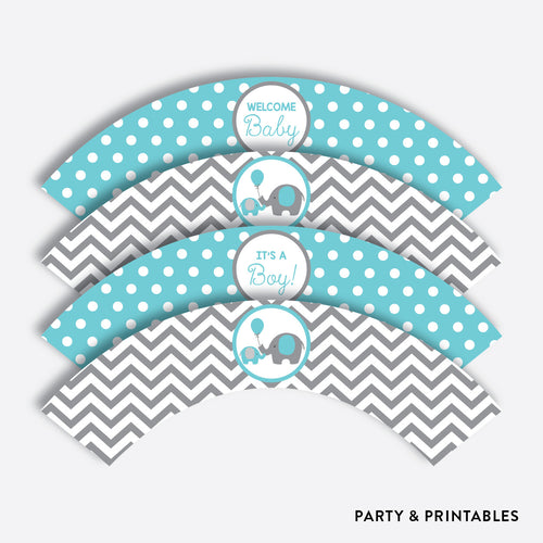 Aqua Elephant Cupcake Wrappers / Non-Personalized / Instant Download (SBS.42)
