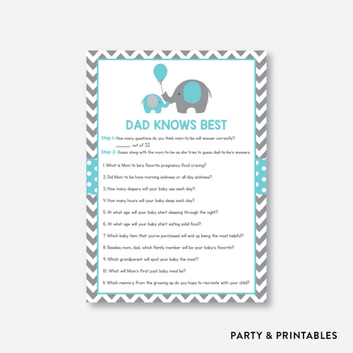 Elephant Dad Knows Best / Non-Personalized / Instant Download (SBS.42)