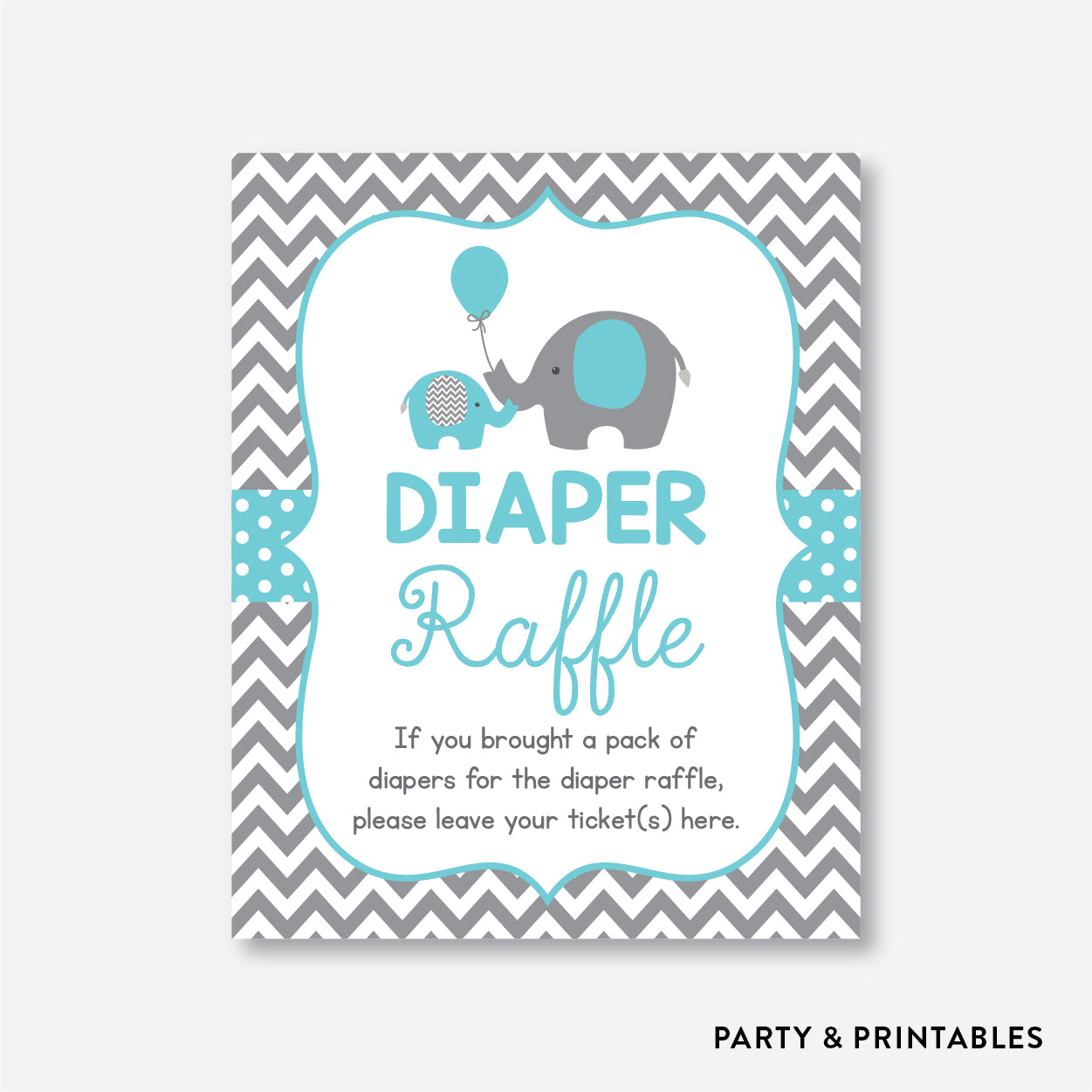 Elephant Diaper Raffle / Non-Personalized / Instant Download (SBS.42)
