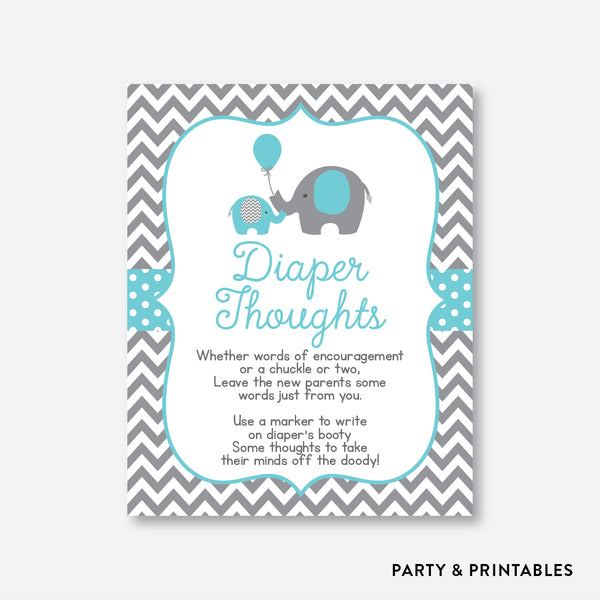Elephant Diaper Thoughts / Non-Personalized / Instant Download (SBS.42)