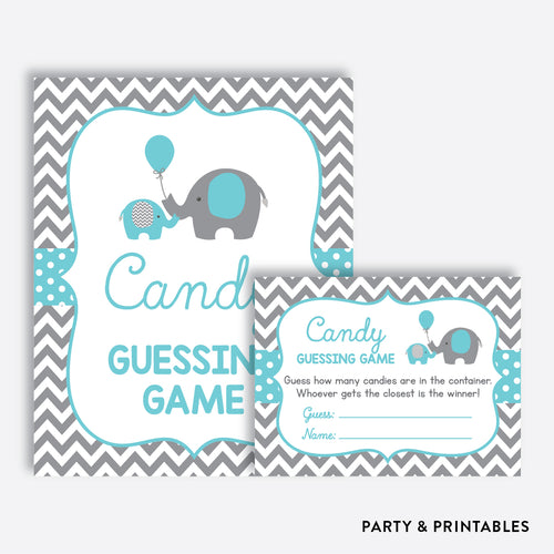 Elephant Guess How Many Candies / Non-Personalized / Instant Download (SBS.42)