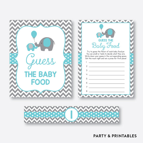 Elephant Guess The Baby Food / Non-Personalized / Instant Download (SBS.42)