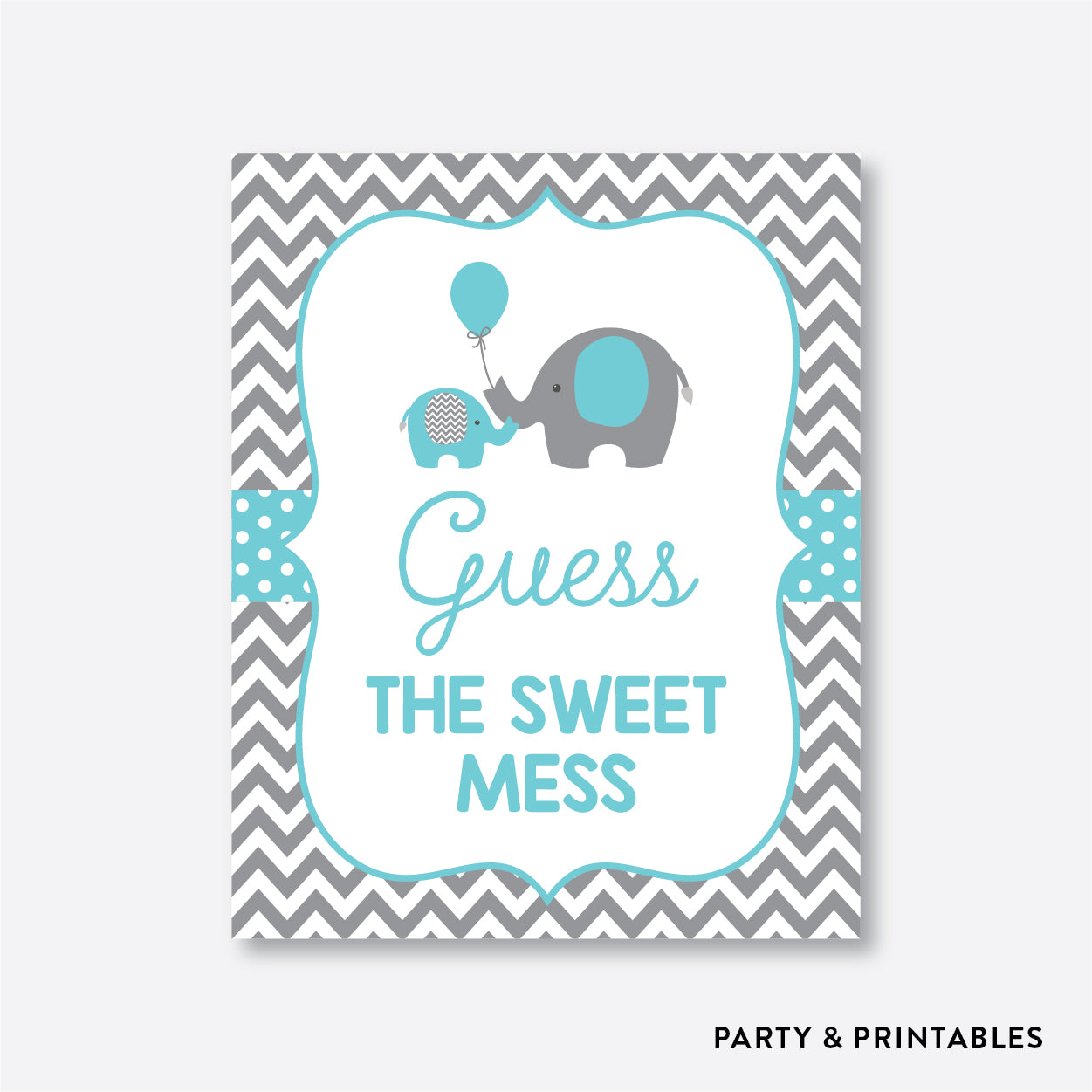 Elephant Guess The Sweet Mess / Non-Personalized / Instant Download (SBS.42)
