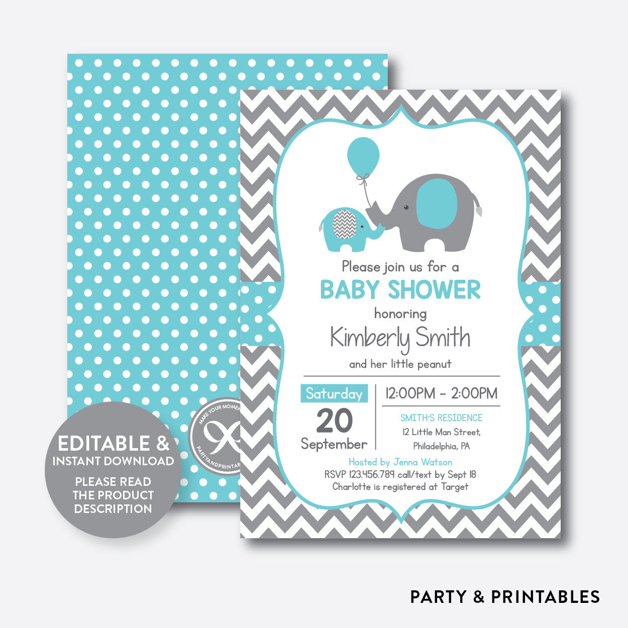 Elephant Baby Shower Invitation / Editable / Instant Download (SBS.42), invitation - Party and Printables