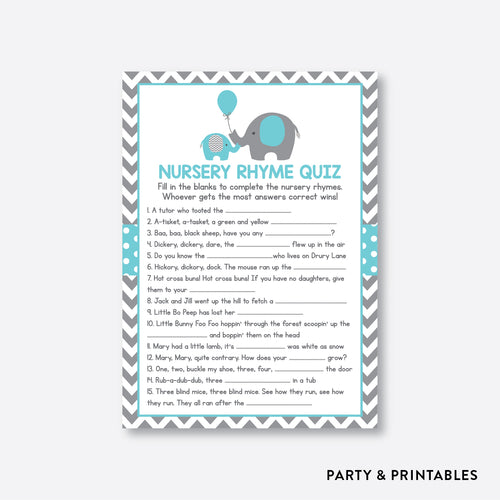 Elephant Nursery Rhyme Quiz / Non-Personalized / Instant Download (SBS.42)