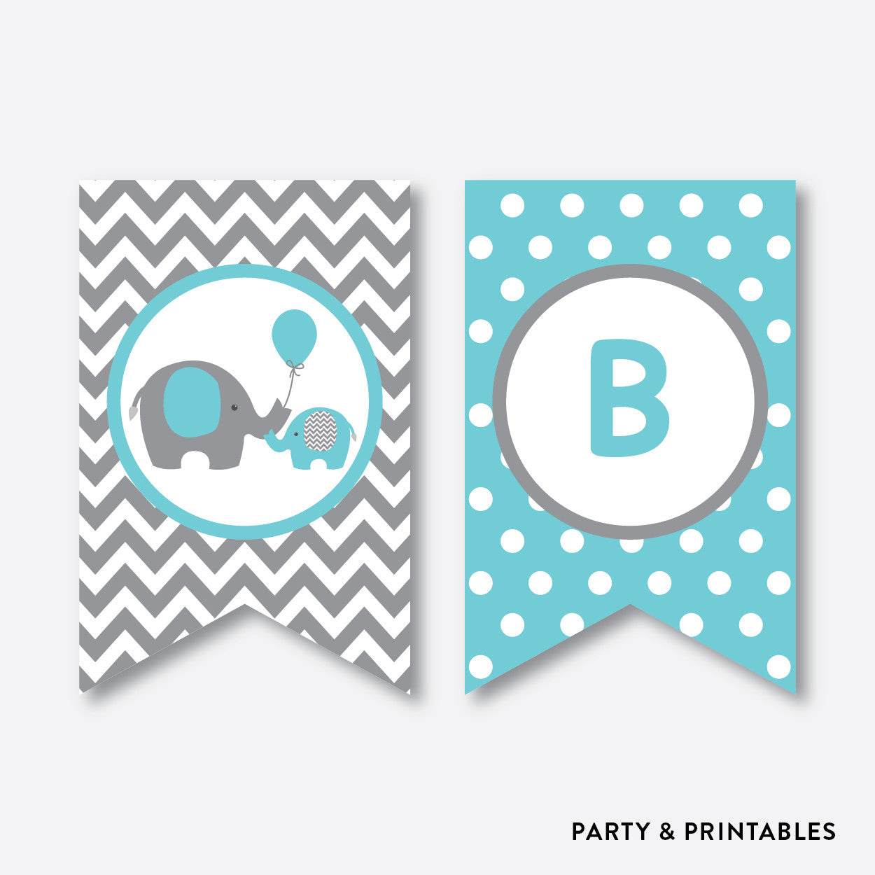 Baby Shower Custom Banners: Elephant Party Banner / Baby Shower Banner / Non