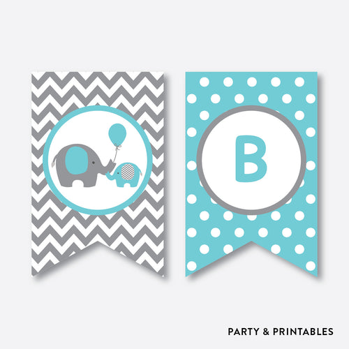 Elephant Party Banner / Baby Shower Banner / Non-Personalized / Instant Download (SBS.42)