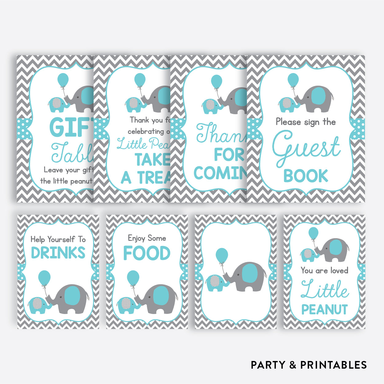 Elephant Party Signs / Non-Personalized / Instant Download (SBS.42)