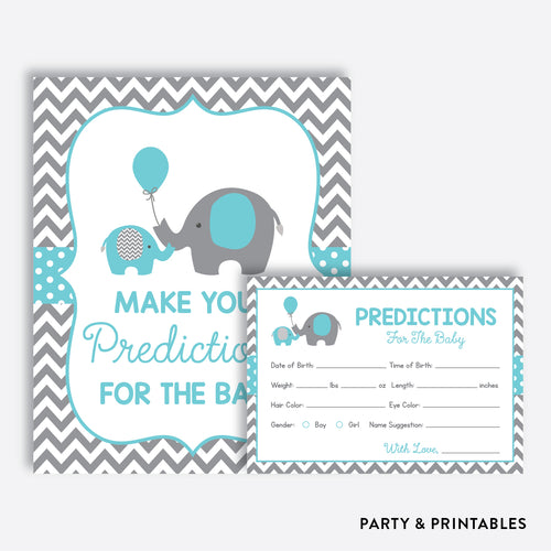 Aqua Elephant Predictions For The Baby / Non-Personalized / Instant Download (SBS.42)
