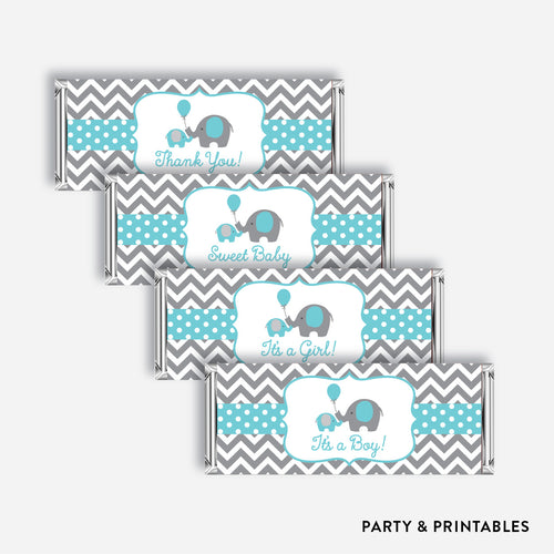 Elephant Standard Candy Bar Wrapper / Non-Personalized / Instant Download (SBS.42)