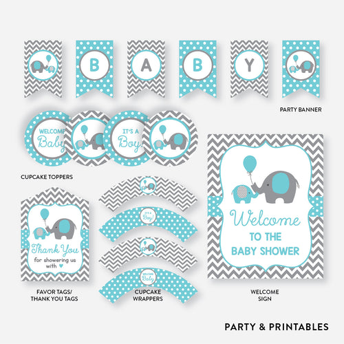 Elephant Standard Baby Shower Party Package / Non-Personalized / Instant Download (SBS.42)
