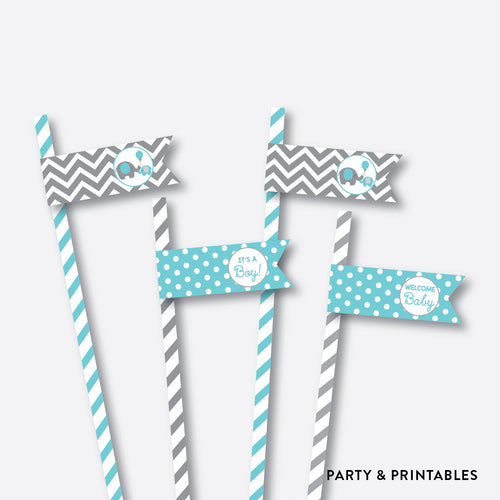 Elephant Straw Flags / Non-Personalized / Instant Download (SBS.42)