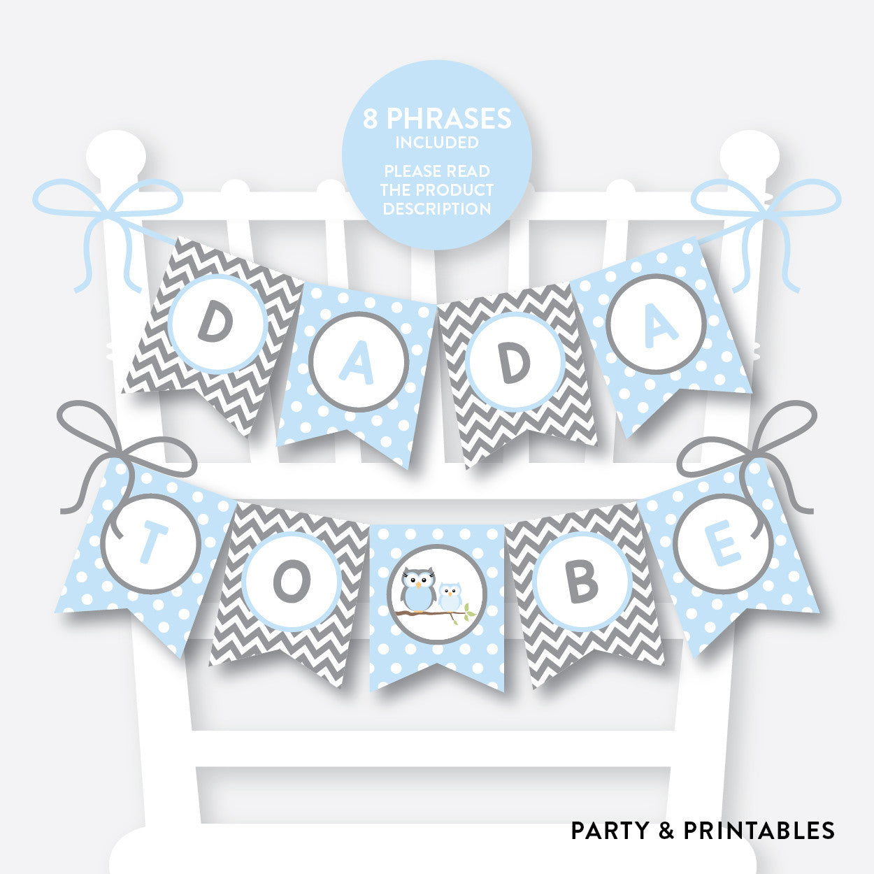 Owl Chair Banner / Baby Shower Banner / Non-Personalized / Instant Download (SBS.43), party printables - Party and Printables