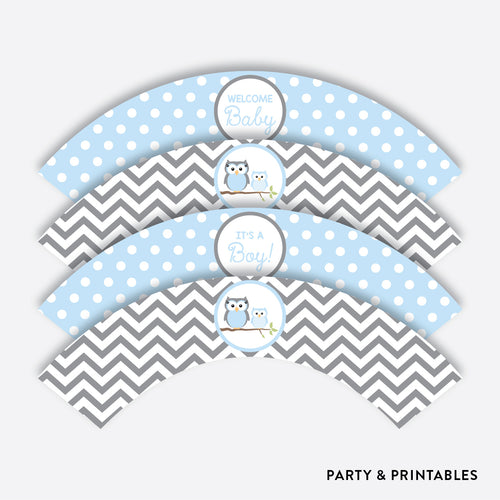 Owl Cupcake Wrappers / Non-Personalized / Instant Download (SBS.43)
