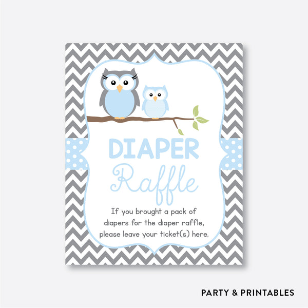 Owl Diaper Raffle / Non-Personalized / Instant Download (SBS.43)