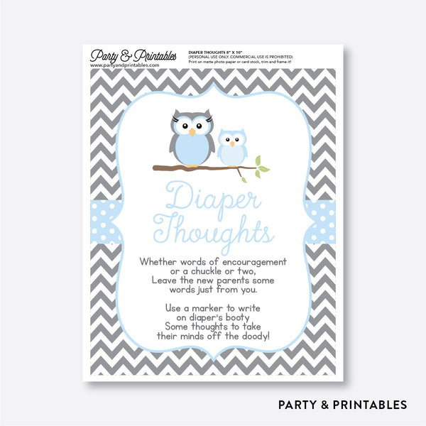 Owl Diaper Thoughts / Non-Personalized / Instant Download (SBS.43)
