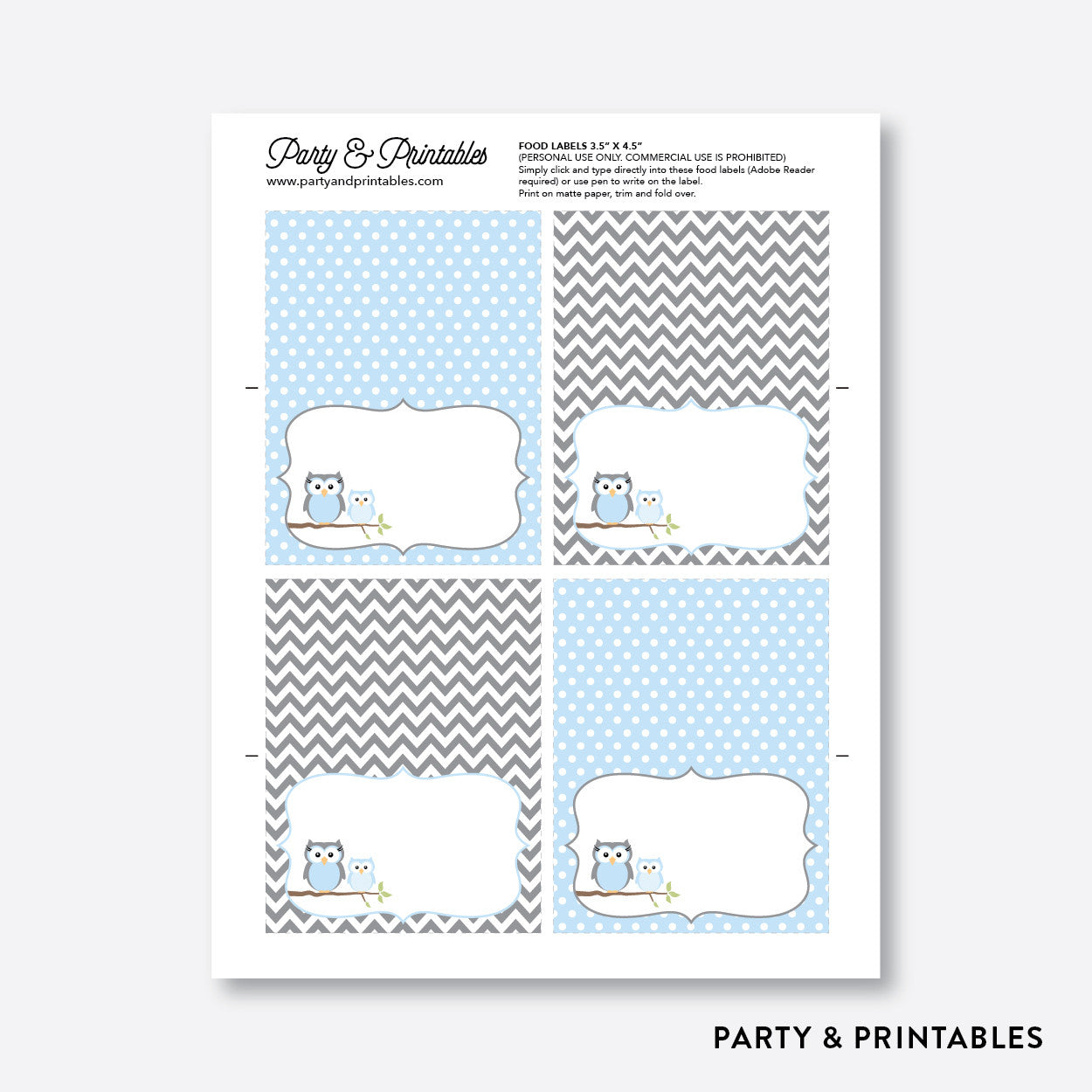 Owl Food Labels / Editable / Instant Download (SBS.43), party printables - Party and Printables