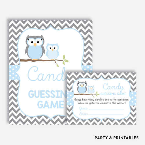 Owl Guess How Many Candies / Non-Personalized / Instant Download (SBS.43)