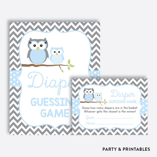 Owl Guess How Many Diapers / Non-Personalized / Instant Download (SBS.43)