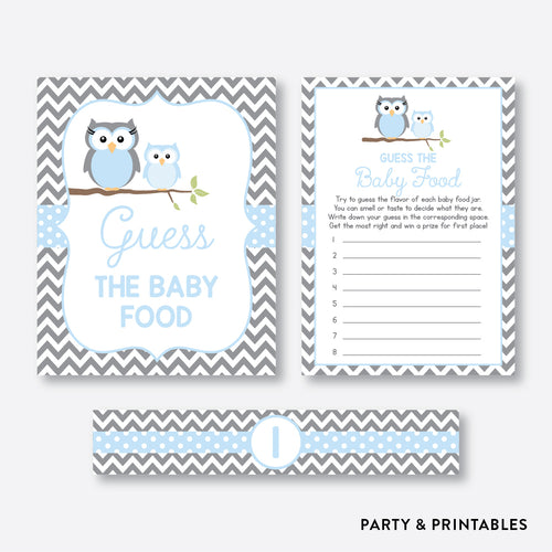 Owl Guess The Baby Food / Non-Personalized / Instant Download (SBS.43)