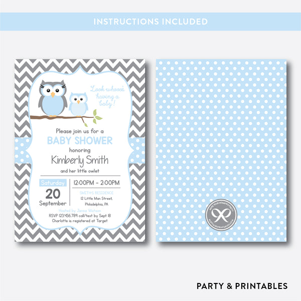 Owl Baby Shower Invitation / Editable / Instant Download (SBS.43)