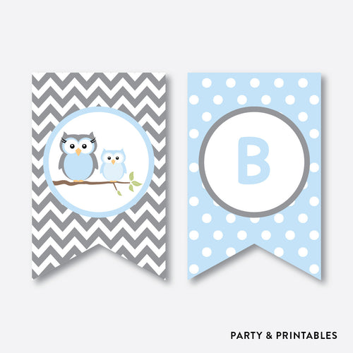Owl Party Banner / Baby Shower Banner / Non-Personalized / Instant Download (SBS.43)