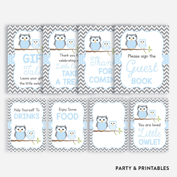 Owl Party Signs / Non-Personalized / Instant Download (SBS.43), party printables - Party and Printables