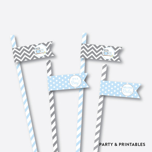 Owl Straw Flags / Non-Personalized / Instant Download (SBS.43)