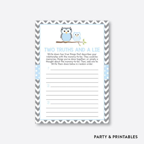 Owl Two Truths And A Lie / Non-Personalized / Instant Download (SBS.43)