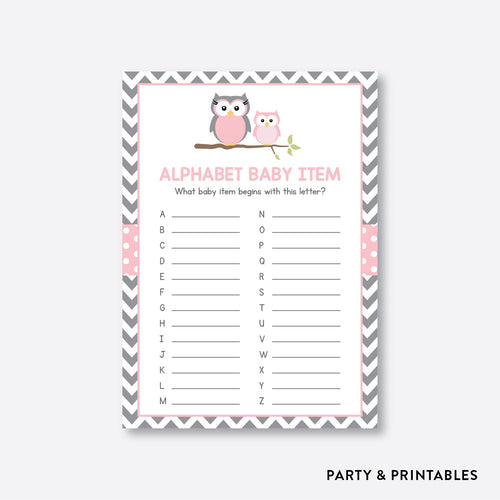 Owl Alphabet Baby Item / Non-Personalized / Instant Download (SBS.44)