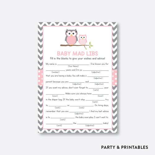 Owl Mad Libs / Non-Personalized / Instant Download (SBS.44)