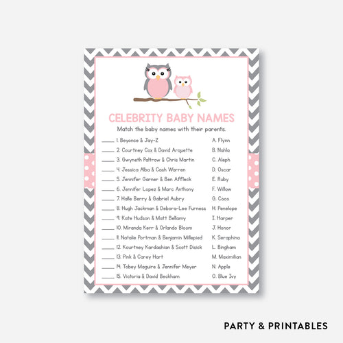 Owl Celebrity Baby Names / Non-Personalized / Instant Download (SBS.44)