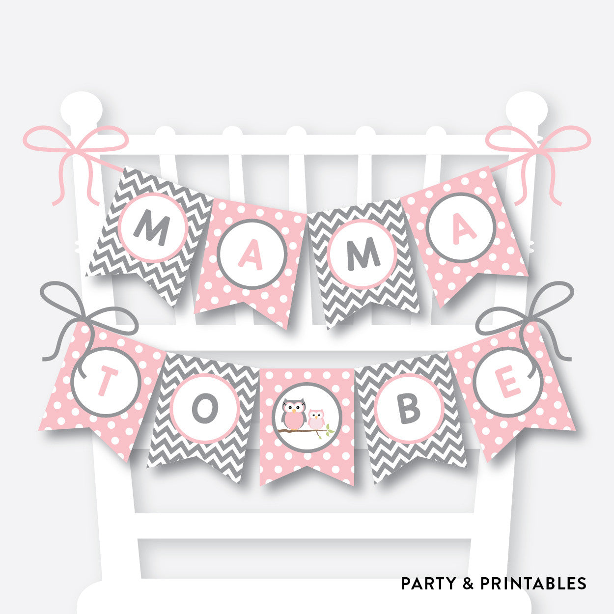 Owl Chair Banner / Baby Shower Banner / Non-Personalized / Instant Download (SBS.44), party printables - Party and Printables