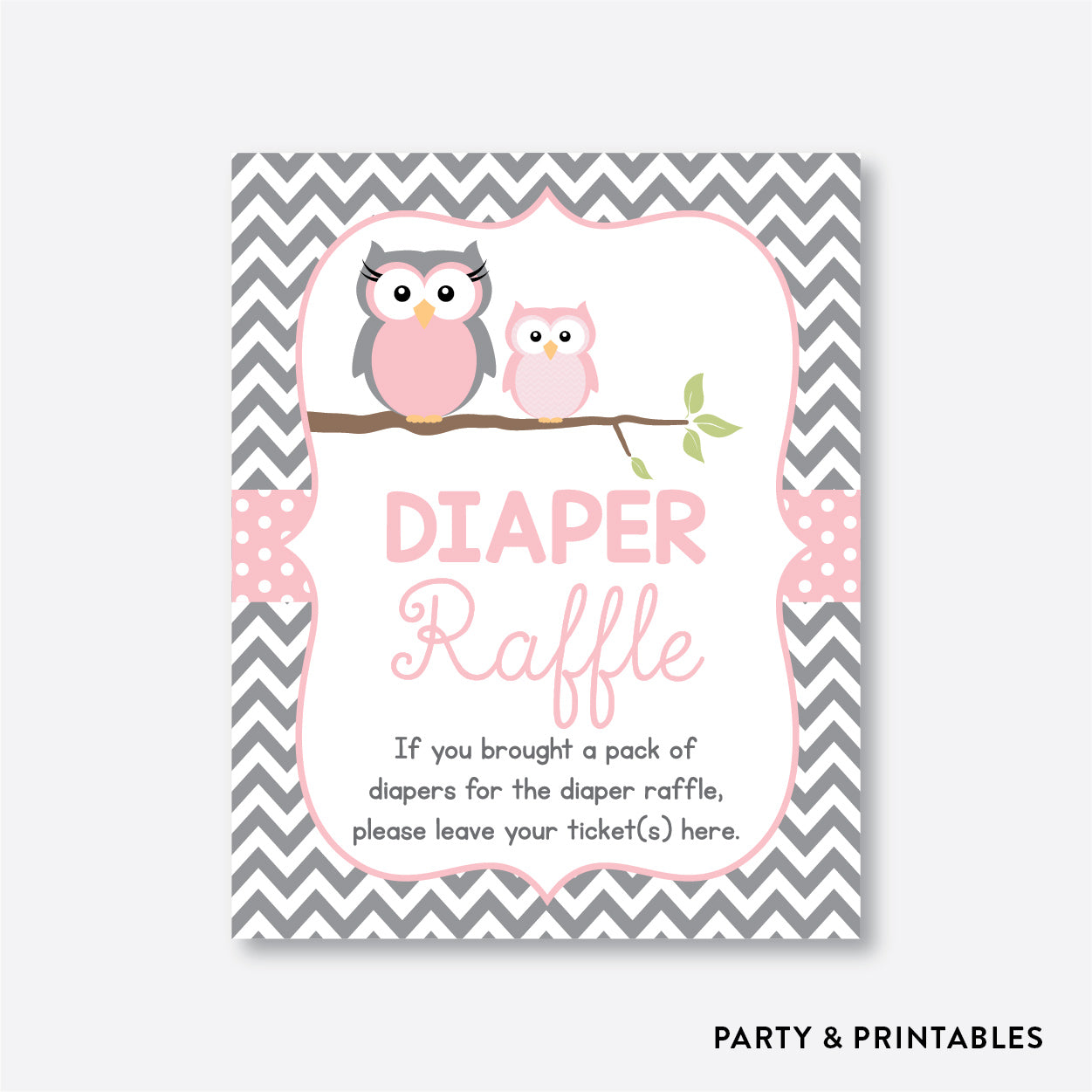 Owl Diaper Raffle / Non-Personalized / Instant Download (SBS.44)